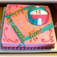 Girly Volleyball Cake   MMF covered RK volleyball, buttercream everything else