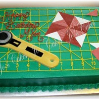 Quilting Mat Cake buttercream iced - MMF rotary cutter and quilt block pieces