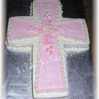 "Baptism Cake For Girl   All buttercream - ""On your baptism"" at the top (can't see it well in the picture)"