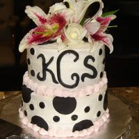 Wedding Shower Creamy White Buttercream with Black Fondant accents and Light Pink border.