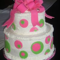 1St Birthday This one was for my niece's first birthday. buttercream with hot pink and lime green fondant polka dots.