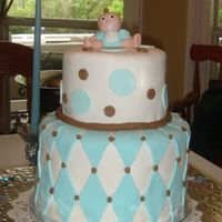 Baby Shower Cake fondant covered with fondant baby, accents. thanks for looking.