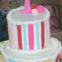 1St Birthday White cake with buttercream icing and fondant polka dots, stripes and 1 with small roses.