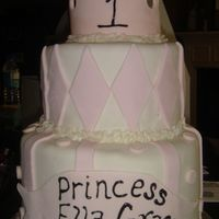Princess Cake Fondant cake with fondant diamonds, gumpaste crown, banner and polka dots. thanks for looking.