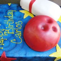 Bowling Party For Carlos' 7Th Birthday Thank you Isamer AKA Isascakes for your inspiration and assistance. Vanilla cake with Oreo cream filling. covered in BC. Bowling ball and...