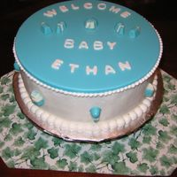 Baby Shower Cake With Candy Plaque This is a chocolate cake covered with buttercream and a candy plaque on the top (I used candy melts in the same pan I baked the cake in)....