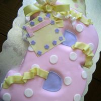 Baili's 1St Wow, I finally got it uploaded! This is a 2-layer butter cake with strawberry and lemon filling. Covered in fondant with gumpaste bow, card...