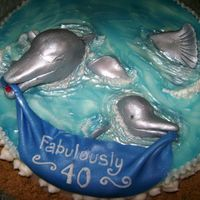 "Dolphin Love 12"" round cake with fondant dolphins. This was fun and inspired by Aldoska's dolphin cake. I loved it and thanks so much!"