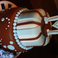 "Baby Boy Shower Cake 6"" double and 8"" double.All fondant decorations. Hand cut and sculpted ""M""Thanks for looking"