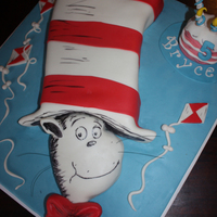 Cat In The Hat Cake All Fondant Decorations. Hat Carved from Cake. Head made of molded rice cereal and then decorated.