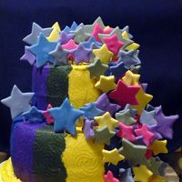 Stars Birthday Cake My niece wanted this cake for her birthday this past weekend. The colors of the buttercream stripes matched the fondant stars until the...