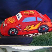 Lightening Mcqueen I made this 1/4 sheet cake with the 3d Cruiser pan on top for my nephew's 7th birthday. It was my first 3d car, but I think it turned...