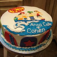 "Phineas And Ferb Cake 10"" 2 layer bc icing and mmf accents (surf boards)"