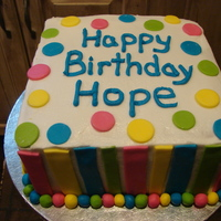 "Polka Dot And Stripes   8"" 2 layer stpies and polka dots made from mmf, and bc icing"