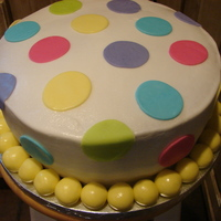 "Polka Dot Shower Cake 10"" 2 layer bc icing and mmf accents"