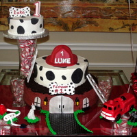 Dalmations And Fire Trucks  Made this for my nephew's 1st b-day. All buttercream with fondant accents - everything is edible except for the fire hydrant,...