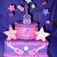 Rock N' Roll Cake Cake was for a little girls karaoke/rock n' roll party - only requests were that it be pink, purple and have a guitar. This is what we...