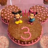 Mickey & Minnie  Mickey ears using 9' & 6' pans. My daughter was more focused on Minnie thus the pink dots. Hershey syrup choc frosting and...