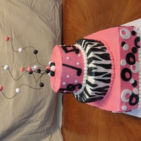 Music & Zebras & Circles  This is a sweet 16 birthday cake. My friend (the mom of the b-day girl) collaborated on this one and we had great fun! She had cut all the...