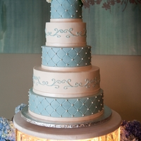Mcdowell Wedding Blue and white buttercream, five tier cake with hand rolled edible pearls and scrolls.