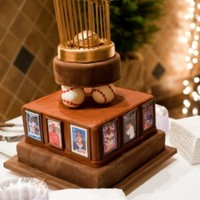 "World Series Trophy This groom is a baseball fanatic. These were some of his favorite players in the edible baseball framed ""cards"". What better time..."