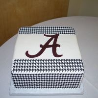 Alabama Roll Tide This cake was decorated using edible houndstooth image sheets. It was my first time using these sheets. You only get one chance to get it...