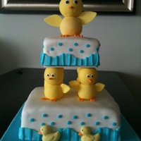 Aurore's Baby Shower Cake I made this for my friend Aurore. She was going for a pastel yellow and green colored cake since she doesn't know the sex of her baby...
