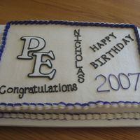 Combination Birthday And Graduation Cake marble 1/2 sheet covered in buttercream