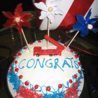 Red, White And Blue Cake  Used a white cake, divided into three bowls. Dyed one bowl red and another bowl blue with food coloring. Baked the remaining plain white,...