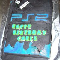 My Hubbys Ps2 Cake These are pics of the cake i made for my husband, since after all he loves his PS2 i decided to hook him up with an edible version. Its a...