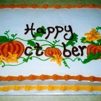 Happy October Spice cake decorated in buttercream
