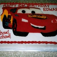 Lightening Mcqueen this was made for my nephew thank goodness since I forgot about the words and numbers being backwards on my Buttercream transfer. I would...