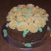 Rose Basket Birthday Cake buttercream roses on chocolate cake piped basket weave in chocolate