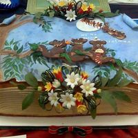 Keating_005.jpg Childrens Christmas story book Australian themed, rich fruit cake covered in rolled foundation with Australian wildflowers, gum leaves,...