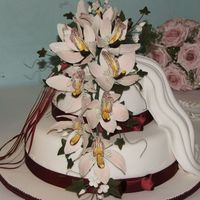 Wedding Cake Foundant With Gumpaste Orchids 2 tier rich fruit cake covered in foundant decorated with gumpaste cymbidium orchids with foundant drape made for my sons wedding my first...