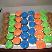 Bright Colored Cupcakes For The 3 Boy's Birthday's