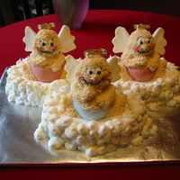 Angel4.jpg   Angel Babies - This cake was made for a Baby Shower being held for 3 moms-to-be. Two were having girls and one was having a boy.