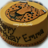 Cheetah Birthday This cake was for my daughters 7th. She designed it. BC frosting with royal icing cheetah.