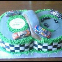 Nascar Birthday Cake I forgot to take a picture of this cake before delivering it, and only have this picture someone took for me! It looked nicer in person...