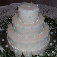 Blue Daisy Wedding Cake