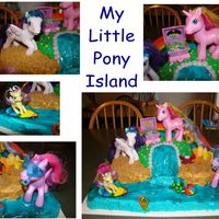 My Little Pony Island All of my ideas for this cake came from site! Thanks everyone! My daughter loved her cake. The rainbow, beach ball, and surfboard are...