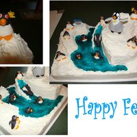 "Happy Feet Penguins are fondant and the ""ice"" is frosting."