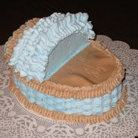 Baby Bassinet thanks birdlove for the inspiration, Vanilla cake/buttercream with white chocolate coconut filling, choco fondant blankie