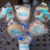 Baby Boy Cookie Bouquet   First cookie bouquet, sugar cookies, quick pour icing