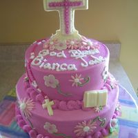 Bianca's Communion A special cake for a friend's Communion. She liked a cake done by lara3teach but asked for a few modifications. The Crosses and Bible...