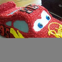 Lightning Mcqueen using the car pan--what a fun cake to make! Thanks to KrisD13 for the turorial! I didn't follow all your directions, but it was a good...