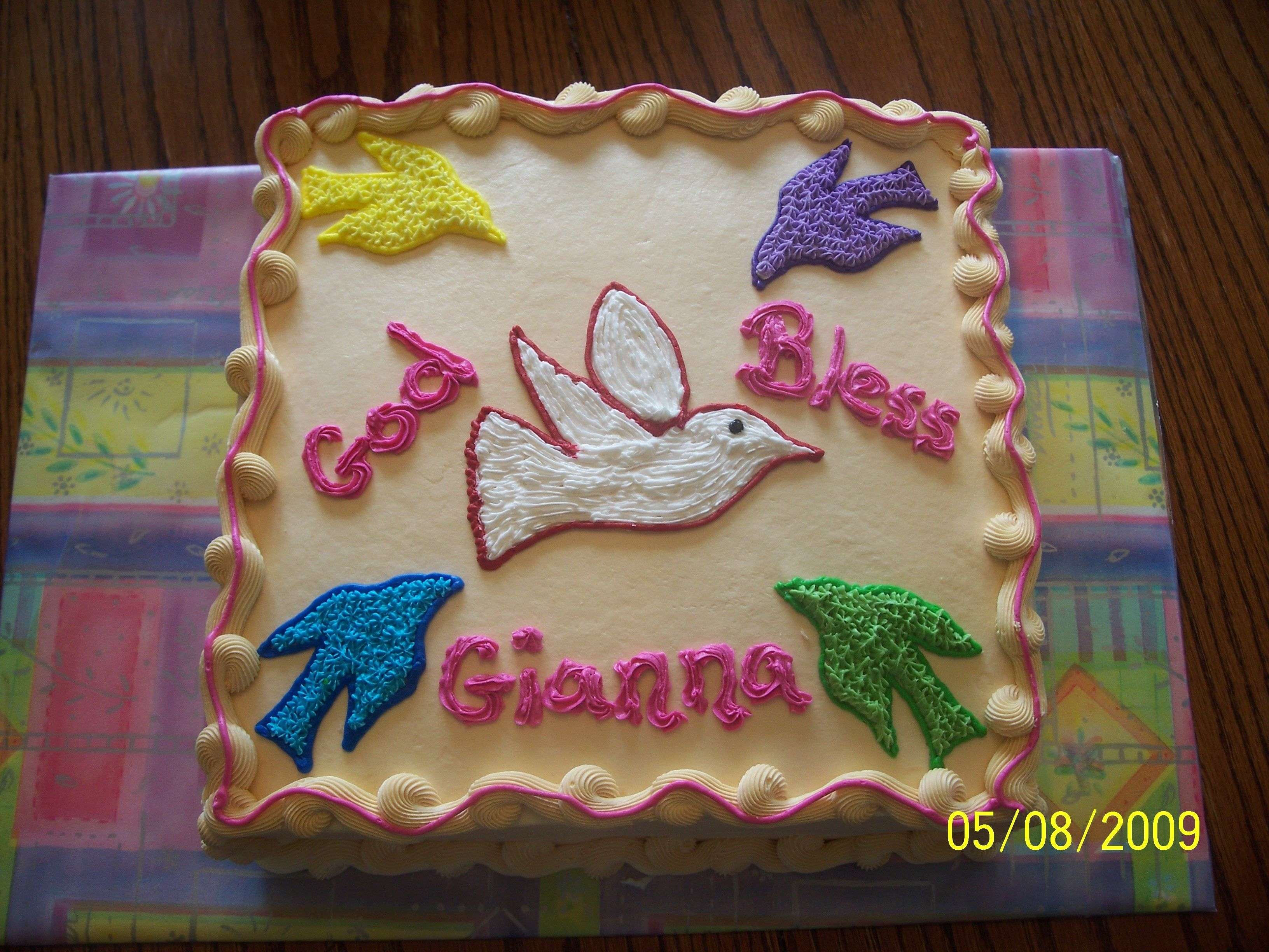 Gianna's Confirmation Gianna sent me a drawing of what she wanted her Confirmation cake to look like. I love it when kids design their own cakes! Her cake...