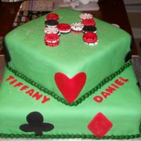 "Mmf Poker Themed Wedding Shower Cake   Convered in MMF with MMF poker chips to make a letter ""H"""