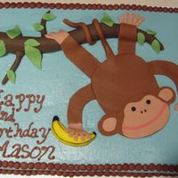 Monkey With Fondant   Monkey themed cake that I copied from pinkcakebox.com