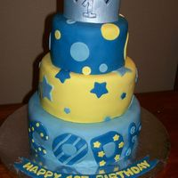 Prince Themed First Birthday Cake   MMF covered and decorated. Crown is fondant.
